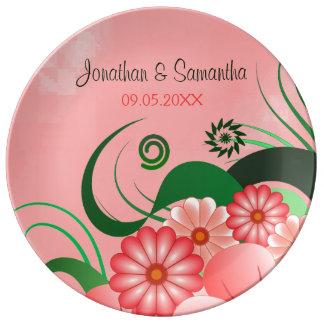 Placa floral rosada de la porcelana del boda 10,75 plato de cerámica