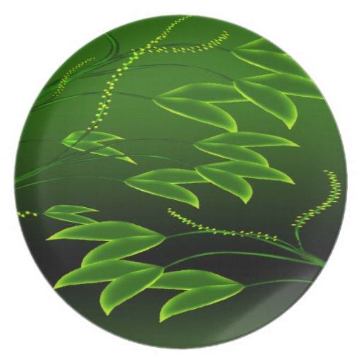 Placa floral verde de la melamina platos