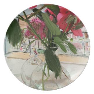 placa: Flores para usted Plato De Comida