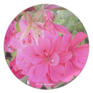 Placa - flores rosadas plato de cena