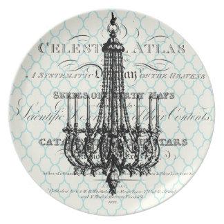 Placa francesa de la lámpara del vintage moderno plato