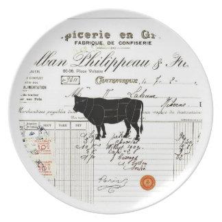 Placa francesa de la melamina de la decoración - plato de cena