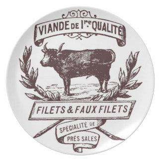 Placa francesa del carnicero platos de comidas