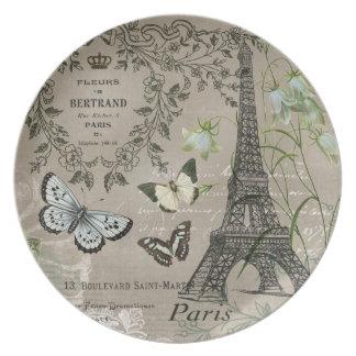placa francesa del jardín de la torre Eiffel del v Platos