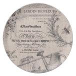 Placa francesa del jardín del vintage plato de comida