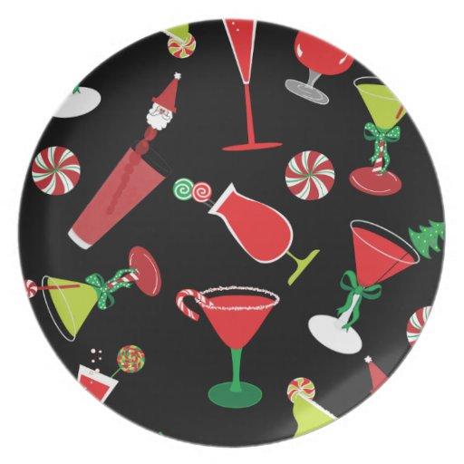 Placa fresca de los cócteles del navidad plato para fiesta