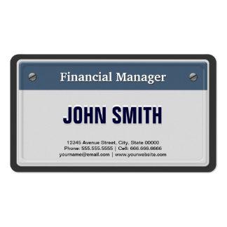 Placa fresca del coche del encargado financiero tarjetas de visita