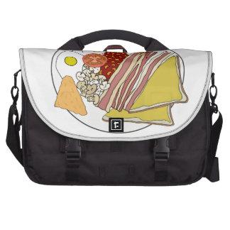 Placa frita del desayuno inglés bolsas de portátil
