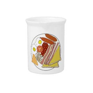 Placa frita del desayuno inglés jarras
