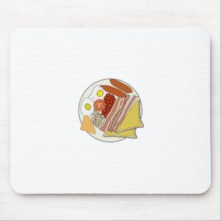 Placa frita del desayuno inglés alfombrillas de raton