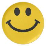 Placa frontal sonriente amarilla grande platos