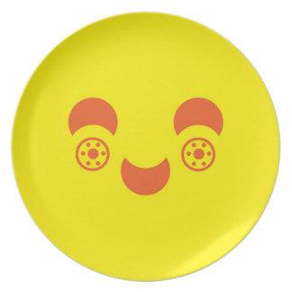Placa frontal sonriente plato
