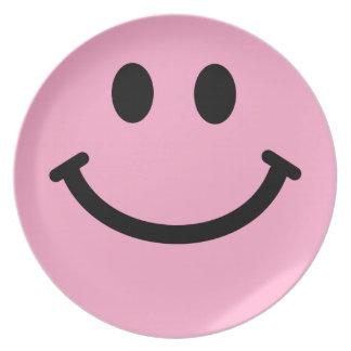 Placa frontal sonriente rosada grande plato para fiesta