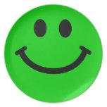 Placa frontal sonriente verde grande plato para fiesta