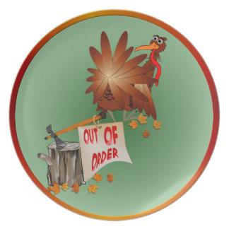 """Placa """"fuera de servicio"""" de la acción de gracias plato"""