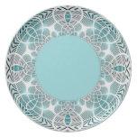 Placa geométrica de la aguamarina platos para fiestas