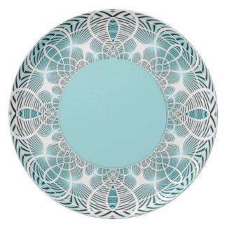 Placa geométrica de la aguamarina platos de comidas