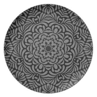 Placa geométrica gris de la elegancia platos de comidas