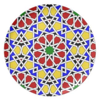 Placa geométrica islámica del modelo platos para fiestas