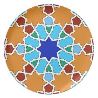 Placa geométrica islámica del modelo platos de comidas