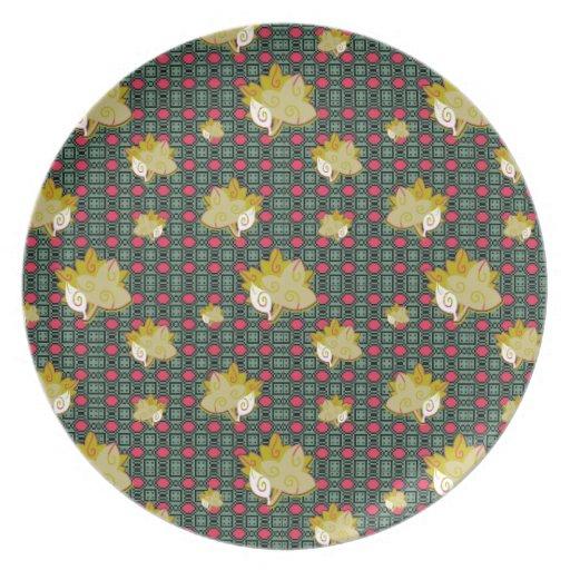 Placa geométrica linda del modelo de la hoja plato