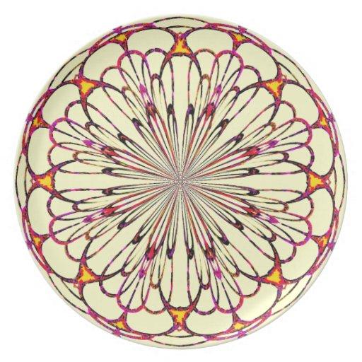 Placa geométrica rosada amarilla de la flor plato para fiesta