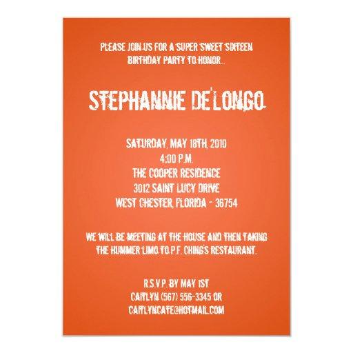 placa giratoria anaranjada de 5x7 DJ invitación de