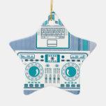 Placa giratoria con vector del equipo de DJ del Adorno Navideño De Cerámica En Forma De Estrella