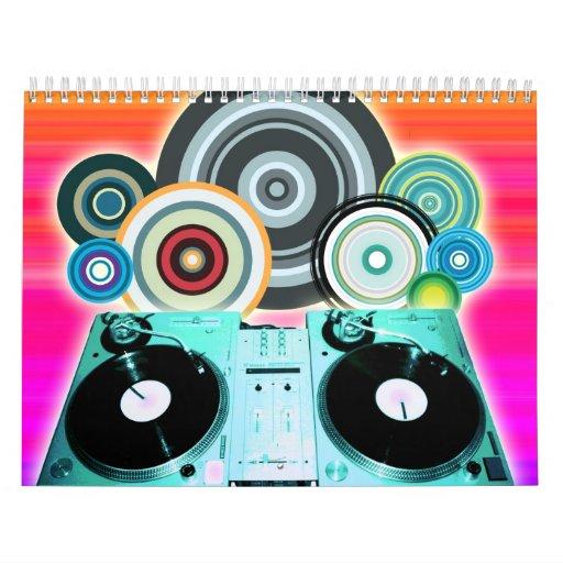 Placa giratoria de DJ con el vinilo - arte pop Calendarios
