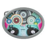 Placa giratoria de DJ con el vinilo - arte pop Hebillas Cinturón Ovales