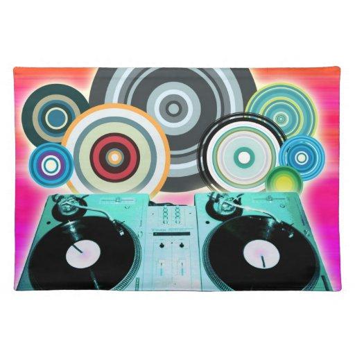 Placa giratoria de DJ con el vinilo - arte pop Mantel Individual