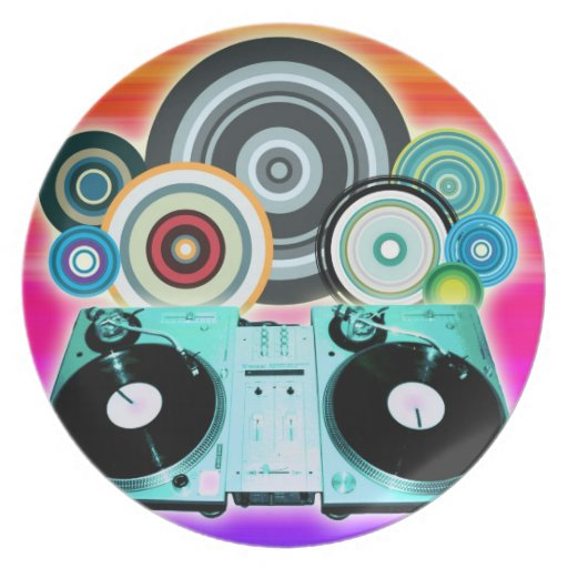 Placa giratoria de DJ con el vinilo - arte pop Plato De Cena