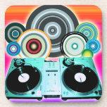 Placa giratoria de DJ con el vinilo - arte pop Posavaso