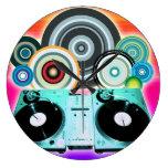 Placa giratoria de DJ con el vinilo - arte pop Reloj De Pared