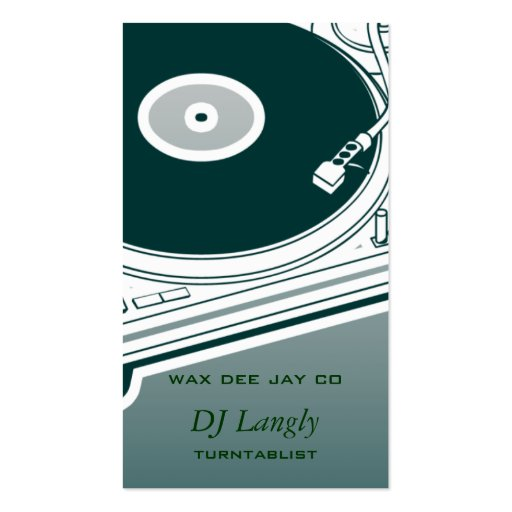 Placa giratoria de DJ Dee Jay Tarjetas Personales