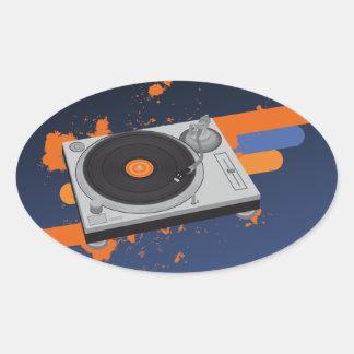 Placa giratoria de DJ Pegatina Ovalada