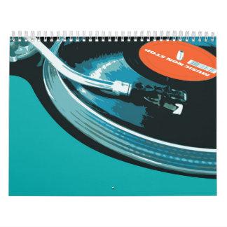 Placa giratoria de la música del vinilo calendarios
