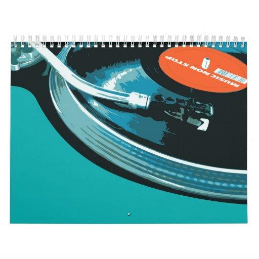 Placa giratoria de la música del vinilo calendarios de pared