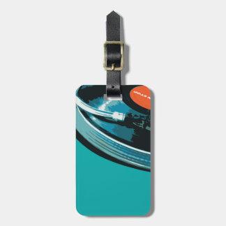 Placa giratoria de la música del vinilo etiqueta para maleta