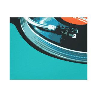 Placa giratoria de la música del vinilo impresiones en lona estiradas