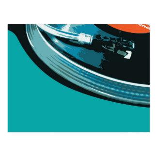 Placa giratoria de la música del vinilo postal