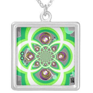 Placa giratoria púrpura y verde blanca retra colgante cuadrado