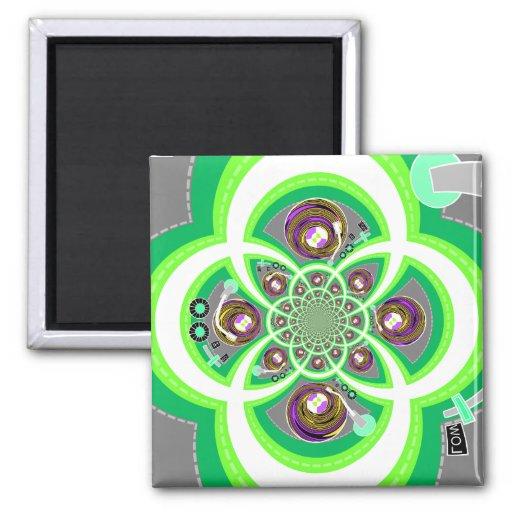 Placa giratoria púrpura y verde blanca retra imanes de nevera