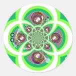 Placa giratoria púrpura y verde blanca retra pegatina redonda