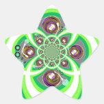Placa giratoria púrpura y verde blanca retra pegatina en forma de estrella