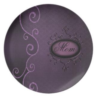 Placa gótica de la mamá de los remolinos del damas plato