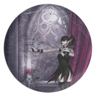 Placa gótica del chica de Mechanika Plato De Comida