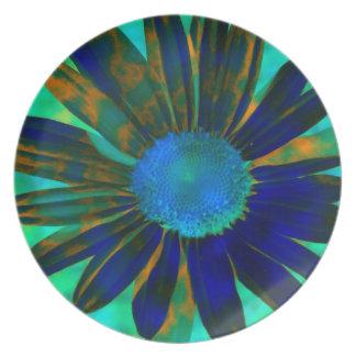Placa grande de la margarita azul plato de cena