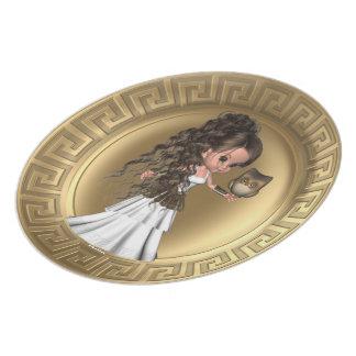 Placa griega de la diosa de Athena Platos Para Fiestas