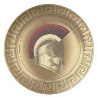 Placa griega del casco del escudo de la diosa de A Plato De Cena
